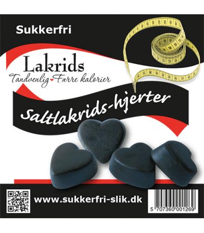 Sukkerfri salt lakridshjerter 90 gr